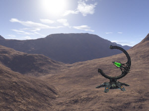 Image generated with Terragen with Necron Pylon placed on top